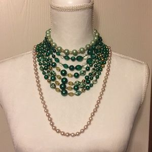Vintage signed green necklaces and faux pearls